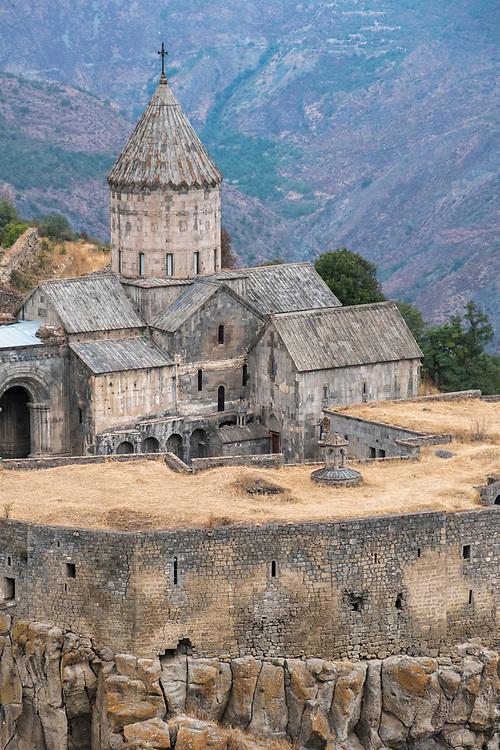 The Tatev Monastery is a 9th-century Armenian Apostolic monastery located on a large basalt plateau near the Tatev village in Syunik Province in southeastern Armenia.