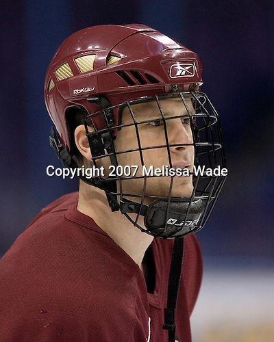 Mike Brennan (Boston College - Smithtown, NY) takes part in the Boston College Eagles' morning skate on Thursday, April 5, 2007, at the Scottrade Center in St. Louis, Missouri.