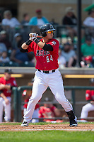 Pabel Manzanero (64) of the Billings Mustangs at bat against the Missoula Osprey at Dehler Park on August 20, 2017 in Billings, Montana.  The Osprey defeated the Mustangs 6-4.  (Brian Westerholt/Four Seam Images)