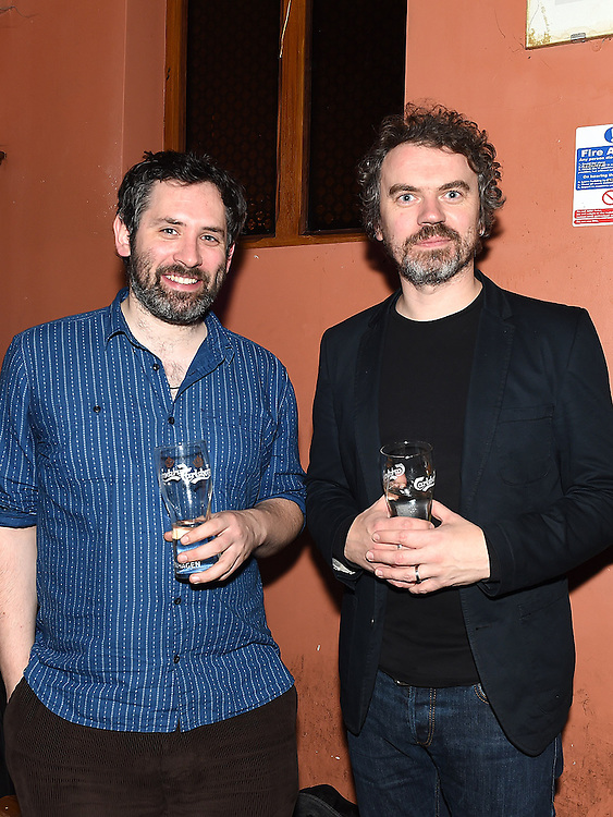 Brendan McCreanor and SJ McArdle pictured at the launch of the Alice Turner charity CD in McPhail's. Photo:Colin Bell/pressphotos.ie