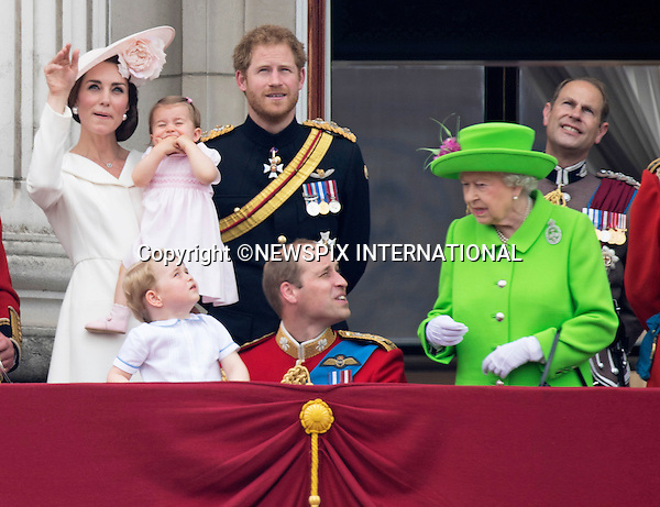 11.06.2016; London, UK: QUEEN ELIZABETH TICKS-OFF PRINCE WILLIAM<br /> The Queen was not amused to see Prince William crouching on the balcony while the RAF Flypast was in progress during the Trooping of Colour.<br /> She should her displeasure by ordering him to stand up like the rest of the members of the Royal Family present on the balcony.<br /> Most members of the British Royal Family joined the Queen for the Trooping The Colour that marks her official birthday.<br /> Royals present included the Duke of Edinburgh, Prince Charles and Camilla, Duchess of Cornwall, Prince William, Kate Middleton, Prince George; Princess Charlotte; Prince Harry, Prince Andrew; Princess Beatrice, Princess Eugenie, Prince Edward, Sophie Wessex, Viscount Severn, Lady Louise Mountbatten-Windsor, Princess Anne, Zara Phillips &amp; Mike Tindal, Prince and Princess Michael Of Kent, Lady Helen Taylor, Duke of Kent, Duke of Gloucester and Duchess of Gloucester,Peter Phillips and Autumn and Lady Amelia Windsor.<br /> Mandatory Credit Photo: &copy;Dias/NEWSPIX INTERNATIONAL<br /> <br /> (Failure to credit will incur a surcharge of 100% of reproduction fees)<br /> IMMEDIATE CONFIRMATION OF USAGE REQUIRED:<br /> Newspix International, 31 Chinnery Hill, Bishop's Stortford, ENGLAND CM23 3PS<br /> Tel:+441279 324672  ; Fax: +441279656877<br /> Mobile:  07775681153<br /> e-mail: info@newspixinternational.co.uk<br /> Please refer to usage terms. All Fees Payable To Newspix International