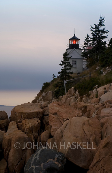 Bass Harbor headlight on Mount Dessert Island, Maine at sunset.