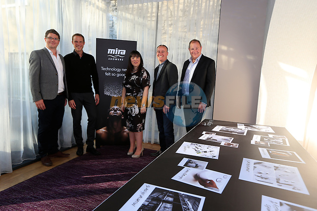 Ryan Kell, Simon Browning, Emma Foster, Craig Beaker and Paul Holliingworth during the Mira Elite Shower product launch in the Mansion House, Dublin Ireland.<br /> Picture Fran Caffrey /Newsfile.ie<br /> <br /> <br /> Founded in 1921, Mira is the UK&rsquo;s leading manufacturer of mixer, electric, power and digital showers.  The entire range of showers and accessories, such as taps and shower trays, use stylish design and innovative technology to deliver a high performance showering experience in every price range.  Mira is owned by leading American bathroom manufacturer Kohler Co. Mira shower products are available in retailers nationwide, including B&amp;Q, and can be found in one in four homes in the UK.<br /> <br /> Mira Showers have now proved they are better by design by winning a Red Dot Award with the high design quality of the Fluency tap. The panel of international experts discussed and evaluated 4,815 entries from 53 countries, but only designs with quality and innovative strength won an award. <br /> <br /> Mira Showers is celebrating the launch in Ireland with the introduction of the Mira Elite to the market. 75% quieter than any other pumped electric shower, the Mira Elite is the perfect solution for any low pressure water systems.<br /> <br /> The Mira Elite has been acoustically engineered to make it the quietest electric shower around and with an integrated pump, this shower will always guarantee a strong and consistent water flow. Conveniently designed, the filter is easily accessible allowing it to be straightforwardly cleaned and the four spray showerhead with rub-clean nozzles, allows your shower to maintain its performance.