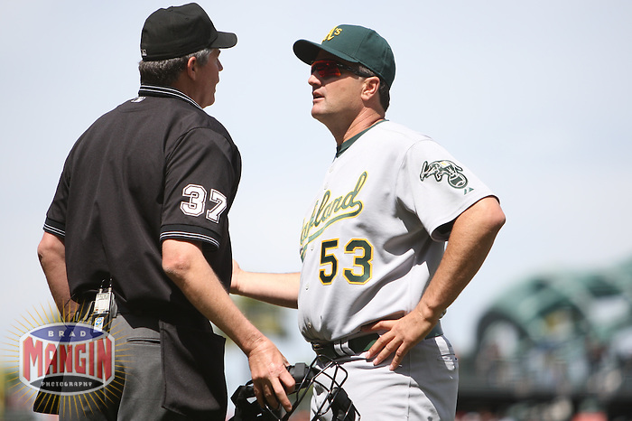 SAN FRANCISCO, CA - June 9:  Manager Bob Geren of the Oakland Athletics argues with home plate umpire Gary Darling during the game against the San Francisco Giants at AT&T Park in San Francisco, California on June 9, 2007.  Photo by Brad Mangin