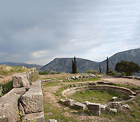 DELPHI, GREECE - APRIL 11 : A general view of the Gymnasium, on April 11, 2007 in the Sanctuary of Athena Pronaia, Delphi, Greece. The Gymnasium was built in Archaic times but took its present form in the 4th century BC. (Photo by Manuel Cohen)
