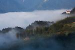 Sapa town area in fog, Northern Vietnam