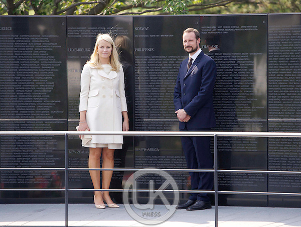 Crown Prince Haakon & Crown Princess Mette Marit of Norway visit The United Nations Memorial Cemetery in Busan on the third day of their four day visit to South Korea..