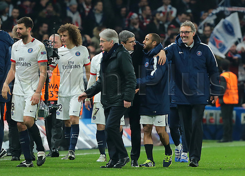 09.03.2016. Stamford Bridge, London, England. Champions League. Chelsea versus Paris Saint Germain. Jubilant scenes at full time as Paris St. Germain Manager Laurent Blanc congratulates some of his players