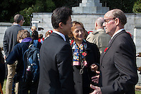 Dignitaries talk after a Remembrance Day ceremony at the Yokohama War Cemetery, Hodogaya. Yokohama, Japan. Sunday November 9th 2014