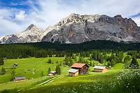 Italy, South Tyrol (Trentino - Alto Adige), near La Valle: Pra d'Armentara (Armentara-Meadows) with Gruppo di Fanis mountains and summit Sasso di Santa Croce at Fanes-Sennes-Prags Nature Park | Italien, Suedtirol, bei Wengen: Armentara-Wiesen (Pra d'Armentara) vor der Fanesgruppe mit Gipfel Heiligkreuzkofel (Sasso di Santa Croce) im Naturpark Fanes-Sennes-Prags