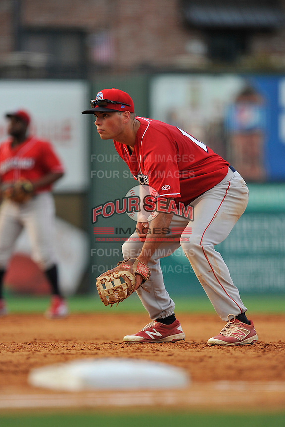 First baseman Damek Tomscha (14) of the Lakewood BlueClaws plays defense in a game against the Greenville Drive on Thursday, June 23, 2016, at Fluor Field at the West End in Greenville, South Carolina. Lakewood won, 8-7. (Tom Priddy/Four Seam Images)