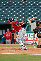 Lakewood BlueClaws designated hitter Cole Stobbe (26) follows through on a swing during a game against the Greensboro Grasshoppers on June 10, 2018 at First National Bank Field in Greensboro, North Carolina.  Lakewood defeated Greensboro 2-0.  (Mike Janes/Four Seam Images)