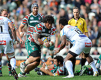 Aviva Premiership. Leicester, England. Logovi'i Mulipola of Leicster Tigers charges forward  during the Aviva Premiership match between Leicester Tigers and Exeter Chiefs at Welford Road on September 29. 2012 in Leicester, England.