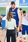 Player Marc Gasol talk with councilor for tourism, culture and sport Andrea Levy during the training of Spanish National Team of Basketball 2019 . July 26, 2019. (ALTERPHOTOS/Francis González)