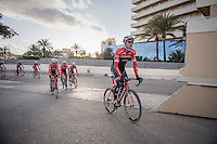 Jasper Stuyven (BEL/Trek-Segafredo) &amp; teammates return to the team hotel after more then 6 hours on the bike &amp; +200km's ridden<br /> <br /> Team Trek-Segafredo Training Camp <br /> january 2017, Mallorca/Spain