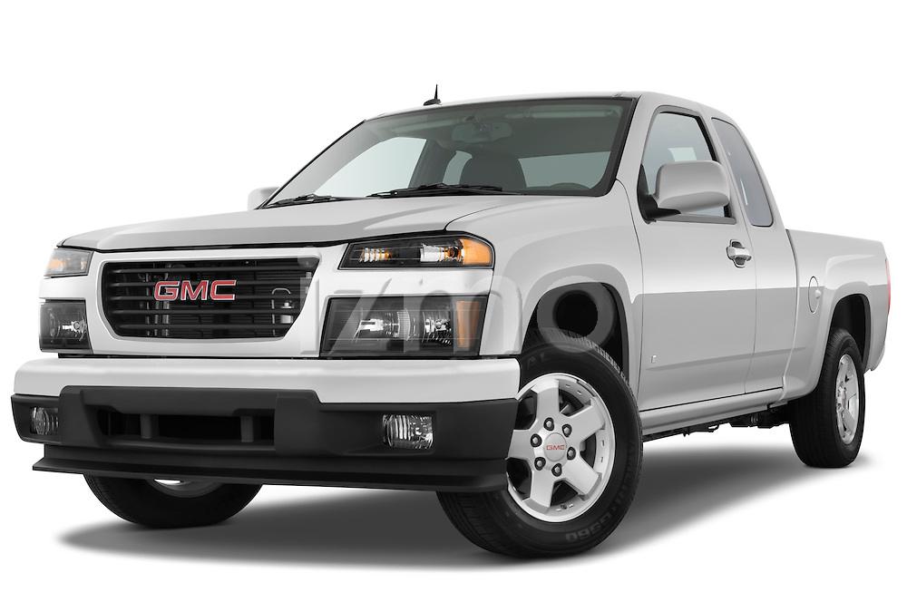 Low aggressive front three quarter view of a 2009 GMC Canyon SLE Extended Cab.