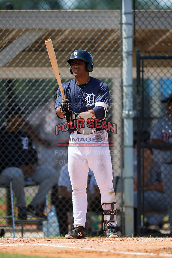 GCL Tigers East right fielder Teddy Hoffman (17) at bat during a game against the GCL Tigers West on August 8, 2018 at Tigertown in Lakeland, Florida.  GCL Tigers East defeated GCL Tigers West 3-1.  (Mike Janes/Four Seam Images)
