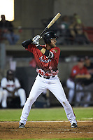 Chuck Leblanc (27) of the Down East Wood Ducks at bat during the 2018 Carolina League All-Star Classic at Five County Stadium on June 19, 2018 in Zebulon, North Carolina. The South All-Stars defeated the North All-Stars 7-6.  (Brian Westerholt/Four Seam Images)