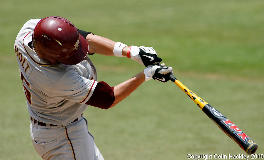 TALLAHASSEE, FL 6/12/10-FSU-VANDY BASE10 CH-Florida State's Tyler Holt swings against Vanderbilt Saturday during NCAA Super Regional action at Dick Howser Stadium in Tallahassee. The Commodores beat the Seminoles 6-2 to stay alive for game three...COLIN HACKLEY PHOTO