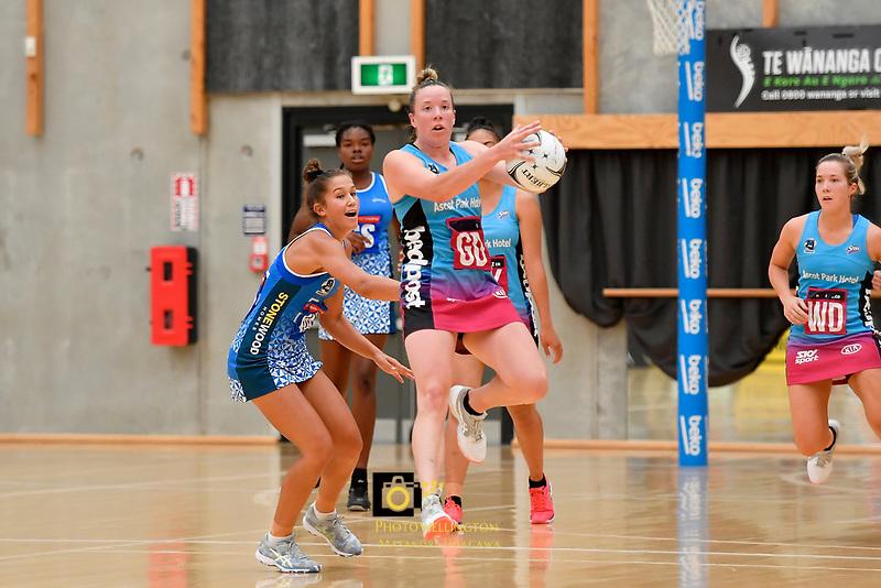 Steel Abby Enwood in action during the Netball Pre Season Tournament - Mystics v Steel at Ngā Purapura, Otaki, New Zealand on Saturday 9 February  2019. <br /> Photo by Masanori Udagawa. <br /> www.photowellington.photoshelter.com
