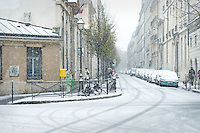 Street in the snow, 3rd Arrondissement, Paris.