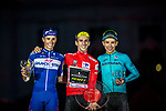 The top three on the podium Simon Yates (GBR) Mitchelton-Scott 1st place overall his first ever Grand Tour victory, with Enric Mas Nicolau (ESP) Quick-Step Floors in 2nd place and Miguel Angel Lopez Moreno (COL) Astana Pro Team in 3rd place at the end of the final Stage 21 of the La Vuelta 2018, running 100.9km for Alcorcon to Madrid, Spain. 16th September 2018.                   <br /> Picture: Jim Fryer/Brakethrough Media | Cyclefile<br /> <br /> <br /> All photos usage must carry mandatory copyright credit (© Cyclefile | Jim Fryer/Brakethrough Media)