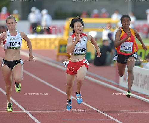 (L-R) Alexandra Toth (AUT), Sayaka Adachi (JPN), Adrine Monagi (PNG),<br /> JULY 22, 2014 - Athletics :<br /> IAAF World Junior Championships Women's 100m Heats at Hayward Field in Eugene, Oregon, United States. (Photo by AFLO)