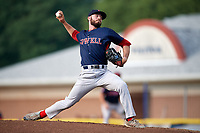Lowell Spinners starting pitcher Chris Machamer (38) delivers his first pitch during a game against the Batavia Muckdogs on July 16, 2018 at Dwyer Stadium in Batavia, New York.  Lowell defeated Batavia 4-3.  (Mike Janes/Four Seam Images)