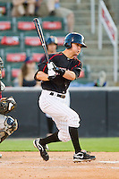 Jake Brown (10) of the Kannapolis Intimidators follows through on his swing against the Savannah Sand Gnats at CMC-Northeast Stadium on May 30, 2013 in Kannapolis, North Carolina. The Intimidators defeated the San Gnats 5-4 in 11 innings..   (Brian Westerholt/Four Seam Images)