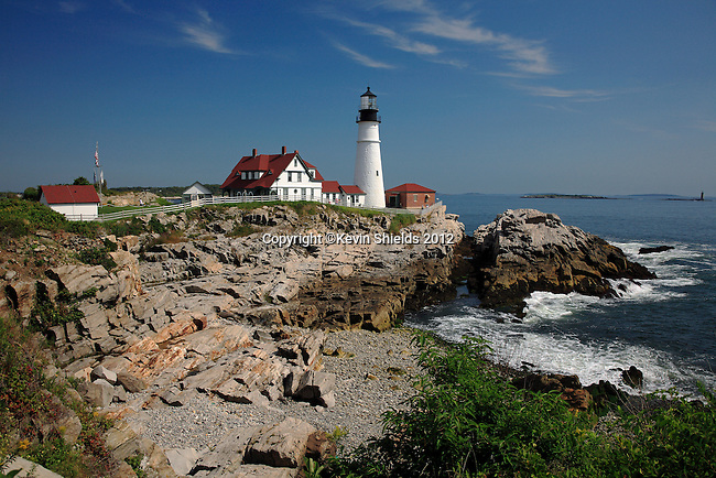 View of Portland Head Lighthouse, Cape Elizabeth, Maine, USA