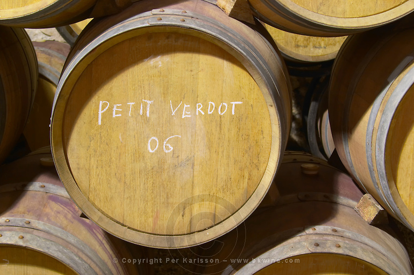 Petit Verdot 2006. Chateau la Condamine Bertrand. Pezenas region. Languedoc. Barrel cellar. France. Europe.