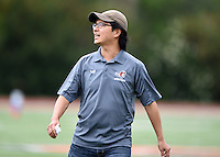 May 24, 2015; Los Angeles, CA, USA; Los Angeles Aviators coach Franklin Rho reacts against the San Francisco Flamethrowers in an American Ultimate Disc League (AUDL) match at Occidental College. The Aviators defeated the Flamethrowers 23-22. <br /> <br /> Photo by Kirby Lee
