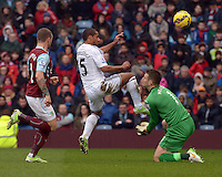 Burnley v Swansea <br /> Swansea's Wayne Routledge chips the Burnley keeper but the shot went over the bar