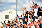 WINSTON SALEM, NC - MAY 22: Wake Forest Demon Deacons fans cheer on their team against the Ohio State Buckeyes during the Division I Men's Tennis Championship held at the Wake Forest Tennis Center on the Wake Forest University campus on May 22, 2018 in Winston Salem, North Carolina. (Photo by Jamie Schwaberow/NCAA Photos via Getty Images)