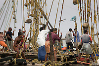 Fort Cochin, Kochi, Kerala, India, March 2008. Teams of fishermen operate the Chinese fishing nets along the shores of Fort Cochin. Fort Cochin was colonialised by the Portugese, Dutch and British, It was an important port for the spice trade with the west. Photo by Frits Meyst/Adventure4ever.com