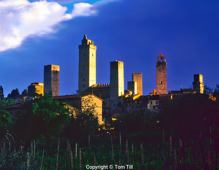 "San Gimignano Towers at Dawn, 13th Century, San Gimignano ""City of Beautiful Towers"", Tuscany Region, Italy"