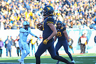 Morgantown, WV - November 10, 2018: West Virginia Mountaineers wide receiver David Sills V (13) scores a touchdown during the game between TCU and WVU at  Mountaineer Field at Milan Puskar Stadium in Morgantown, WV.  (Photo by Elliott Brown/Media Images International)