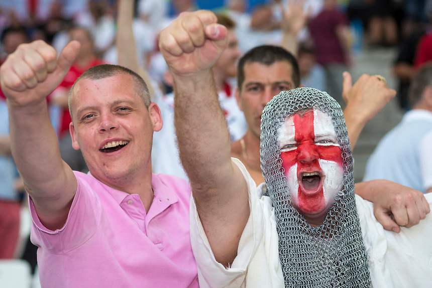 England fans enjoy the pre-match build up at the Stade Velodrome<br /> <br /> Photographer Craig Mercer/CameraSport<br /> <br /> International Football - 2016 UEFA European Championship - Group B - England v Russia - Saturday 11th June 2016 - Stade Velodrome, Marseille - France <br /> <br /> World Copyright &copy; 2016 CameraSport. All rights reserved. 43 Linden Ave. Countesthorpe. Leicester. England. LE8 5PG - Tel: +44 (0) 116 277 4147 - admin@camerasport.com - www.camerasport.com