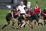 P. Hunt tries to break through a Bombay tackle. Counties Manukau Premier 2 Championship game between Bombay and Papakura played at Bombay on May 13th, 2006. Papakura won 8 - 7.