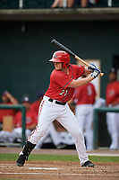 Harrisburg Senators second baseman Dan Gamache (21) at bat during a game against the Akron RubberDucks on August 18, 2018 at FNB Field in Harrisburg, Pennsylvania.  Akron defeated Harrisburg 5-1.  (Mike Janes/Four Seam Images)