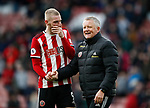 Chris Wilder manager of Sheffield Utd celebrates the win with Oli McBurnie of Sheffield Utd during the Premier League match at Bramall Lane, Sheffield. Picture date: 7th March 2020. Picture credit should read: Simon Bellis/Sportimage
