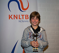 November 30, 2014, Almere, Tennis, Winter Youth Circuit, WJC,  Prizegiving,Daan van Dijk 5th place<br /> Photo: Henk Koster