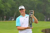 Alexander Noren, 2017 Wentworth champion with his trophy on the 18th green,during the BMW PGA Golf Championship at Wentworth Golf Course, Wentworth Drive, Virginia Water, England on 28 May 2017. Photo by Steve McCarthy/PRiME Media Images.