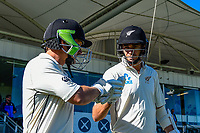 BJ Watling and Tim Southee of the Black Caps head out to bat. Day 3 of the Second International Cricket Test match, New Zealand V England, Hagley Oval, Christchurch, New Zealand, 1st April 2018.Copyright photo: John Davidson / www.photosport.nz