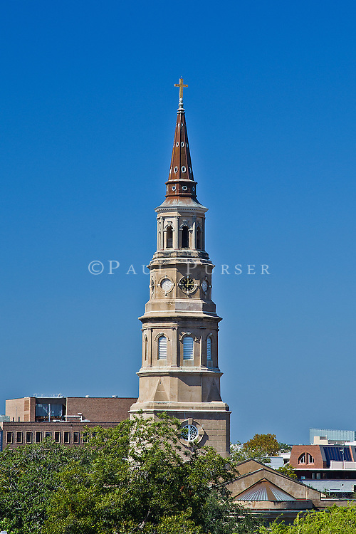 "Photo of a landmark church in Charleston SC. The skyline of Charleston SC is lined with church steeples, earning Charleston it ""Holy City"" nickname."