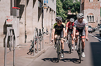 Ryan Mullen (IRL/Trek-Segafredo) &amp; Mads Pedersen (DEN/Trek-Segafredo) meeting up with Maglia Rosa / overall leader Simon Yates (GBR/Mitchelton-Scott) while checking out the iTT-course of the 16th stage on the restday<br /> <br /> 3rd Giro restday <br /> 101th Giro d'Italia 2018