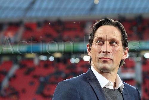01.04.2016. Leverkusen, Germay. Bundesliga football. Bayer Leverkusen versus VFL Wolfsburg in the BayArena in Leverkusen. Trainer Roger Schmidt (Bayer 04 Leverkusen)