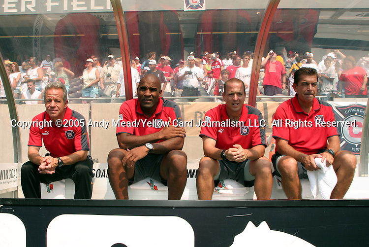 16 July 2005: Chicago's coaching staff (from left): head coach Dave Sarachan, assistants Denis Hamlett, Daryl Shore, and Craig Reynolds. The Chicago Fire and Columbus Crew tied 1-1 at Soldier Field in Chicago, Illinois in a regular season Major League Soccer game.