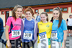 Katie Buckley, Elana Friel, Chloe Fitzgerald and Julie Moynihan at the 4km road race in aid of the Rathmore Ladies football club on Sunday