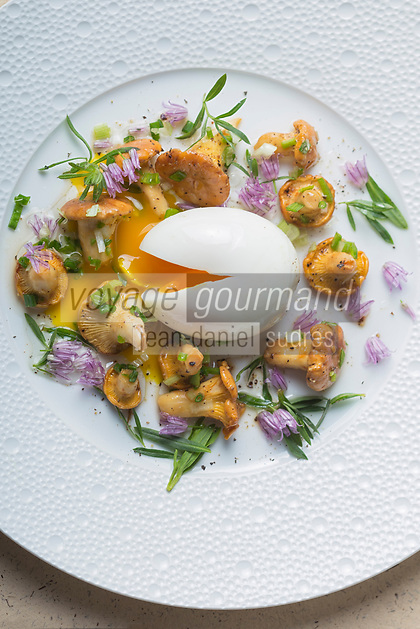 France, Paris (75), Les aliments anti-cancer de Richard Béliveau cuisinés par  Alain Passard, restaurant trois étoiles L'Arpège - Girolles à l'ail frais et oeuf mollet //  France, Paris, Richard Béliveau , anti-cancer foods cooked  by Alain Passard, three-star restaurant L'Arpège - Chanterelles with fresh garlic and boiled egg